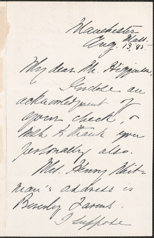 Alice M. Longfellow autograph letter signed to Thomas Wentworth Higginson, Manchester, Mass., 13 August 1885