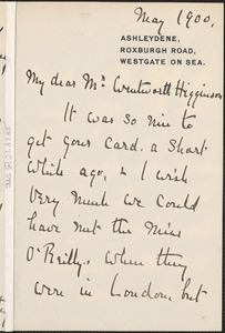 Charlotte McCarthy autograph letter signed to Thomas Wentworth Higginson, Westgate on Sea, England, May 1900