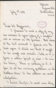 Dora Greenwell McChesney autograph letter signed to Thomas Wentworth Higginson, Walthamstow, Essex, 7 July 1897