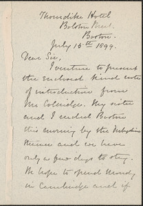 Lydia Manley autograph note signed to [Thomas Wentworth Higginson], Boston, 15 July 1899
