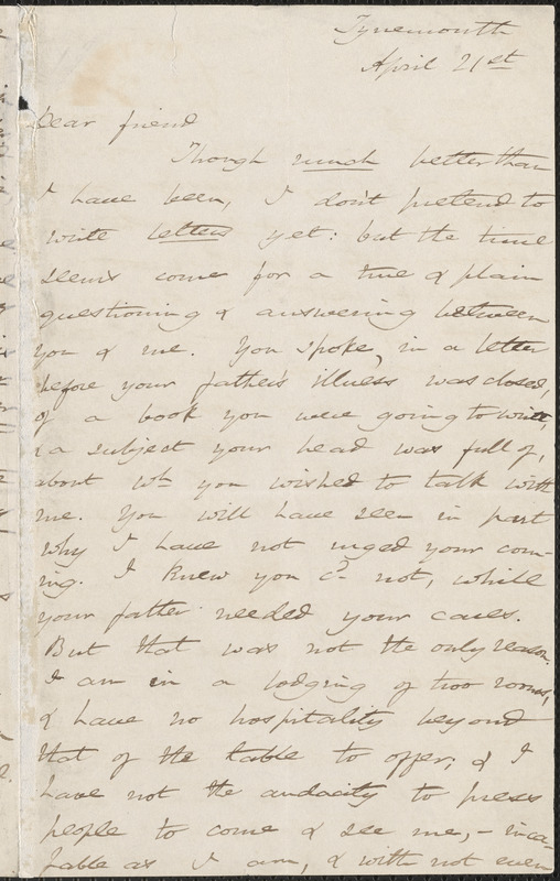 Harriet Martineau autograph letter signed to [Thomas Wentworth Higginson], Tynemouth, England, 21 April