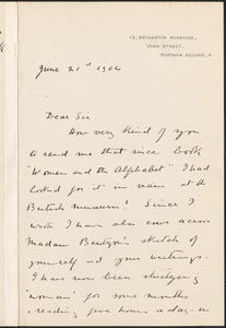 Annette M. B. Meakin autograph letter signed to [Thomas Wentworth Higginson], London, 21 June 1904