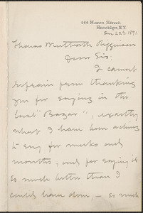 Harriet Mann Miller autograph letter signed to Thomas Wentworth Higginson, Brooklyn, 22 December 1891