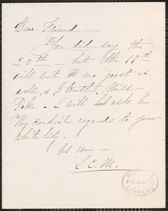 Louise Chandler Moulton autograph notes signed to [Thomas Wentworth Higginson]