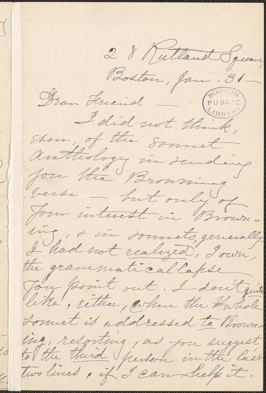Louise Chandler Moulton autograph letter signed to Thomas Wentworth Higginson, Boston, 31 January