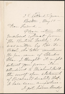 Louise Chandler Moulton autograph note signed to [Thomas Wentworth Higginson], Boston, 10 May