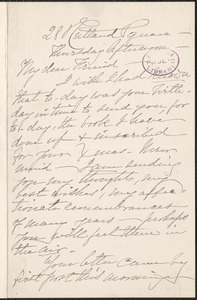 Louise Chandler Moulton autograph letter signed to [Thomas Wentworth Higginson], [Boston]
