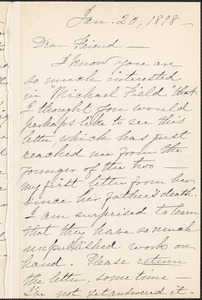 Louise Chandler Moulton autograph letter signed to Thomas Wentworth Higginson, [Boston], 20 January 1898
