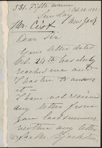 Christine Nilsson autograph note signed to Cist, New York, 28 October 1883