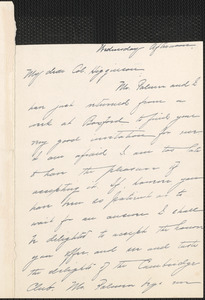 Alice Freeman Palmer autograph letter signed to Thomas Wentworth Higginson, Wellesley, Mass., 11 April