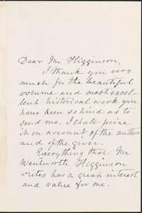 Mary Lowell Putnam autograph letter signed to Thomas Wentworth Higginson