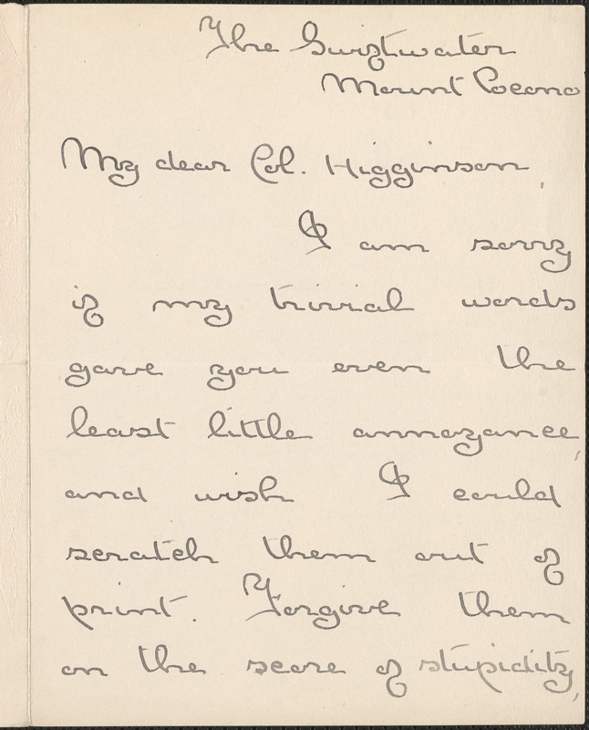 Agnes Repplier autograph letter signed to Thomas Wentworth Higginson, The Swiftwater, Mount Pocono