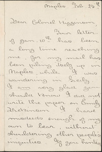 Agnes Repplier autograph letter signed to Thomas Wentworth Higginson, Naples, 25 February