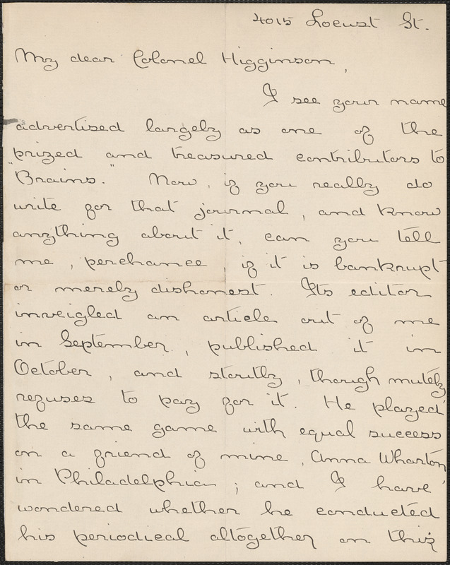 Agnes Repplier autograph letter signed to Thomas Wentworth Higginson, Philadelphia, 16 December 1891