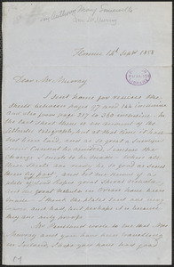 Mary Somerville autograph letter signed to [John?] Murray, Florence, Italy, 14 September 1858