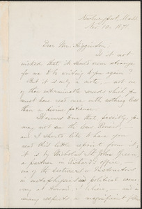 Harriet Elizabeth Prescott Spofford autograph letter signed to Thomas Wentworth Higginson, Newburyport, Mass., 10 November 1871