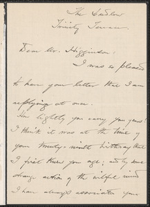 Harriet Elizabeth Prescott Spofford autograph letter signed to Thomas Wentworth Higginson, [New York?]