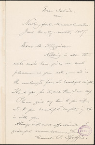 Harriet Elizabeth Prescott Spofford autograph note signed to Thomas Wentworth Higginson, Deer Island, Mass., 29 June 1907