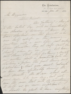 Elizabeth Cady Stanton autograph letter signed to Thomas Wentworth Higginson, New York, 13 January 1868