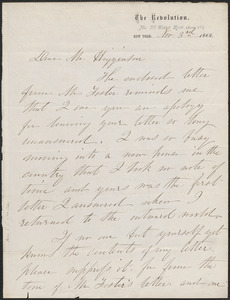 Elizabeth Cady Stanton autograph letter signed to [Stephen Symonds] Foster, New York, 3 November 1868