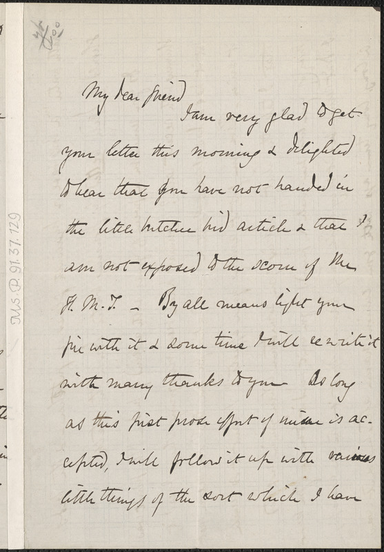 Celia Thaxter autograph letter signed to [Thomas Wentworth Higginson], Newtonville, Mass., 8 February