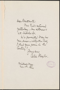 Celia Thaxter autograph note signed to Thomas Wentworth Higginson, [Boston], 8 November 1882