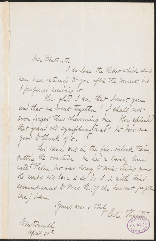 Celia Thaxter autograph note signed to Thomas Wentworth Higginson, Newtonville, Mass., 30 April