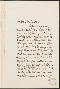 Celia Thaxter autograph letter signed to Thomas Wentworth Higginson, Boston, 21 October 1882
