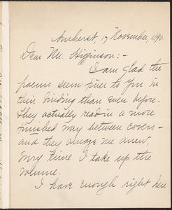 Mabel Loomis Todd autograph letter signed to Thomas Wentworth Higginson, Amherst, Mass., 17 November 1890