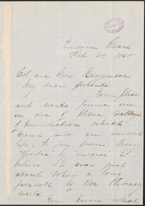 Elizabeth Stuart Phelps Ward autograph note signed to Colonel and Mrs. Thomas Wentworth Higginson, Andover, Mass., 24 February 1868