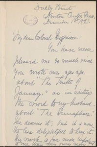 Elizabeth Stuart Phelps Ward autograph letter signed to Thomas Wentworth Higginson, Newton Centre, 1 December 1893