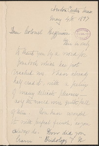 Elizabeth Stuart Phelps Ward autograph letter signed to Thomas Wentworth Higginson, Newton Centre, Mass., 4 May 1897