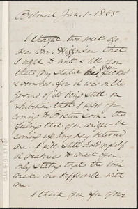 Anne Whitney autograph letter signed to Thomas Wentworth Higginson, Belmont, Mass., 1 January 1865