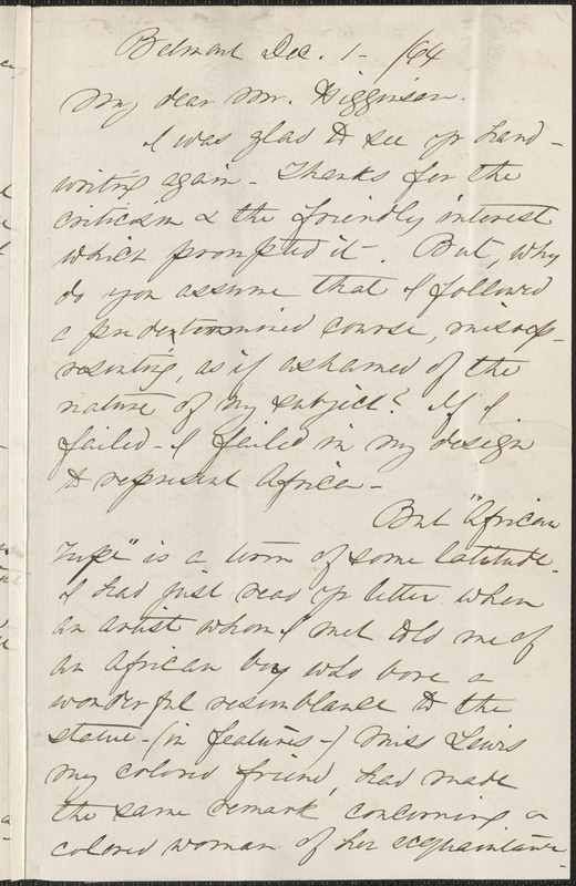 Anne Whitney autograph letter signed to Thomas Wentworth Higginson, Belmont, Mass., 1 December 1864