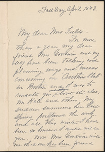 Kate Tannatt Woods autograph letter signed to Annie (Adams) Fields, [Boston?], April 1883