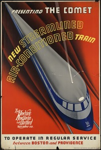 Presenting the comet. New streamlined air-conditioned train