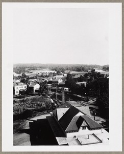 Aerial, to the north, looking over Old Railroad Station from roof of Old Town Hall