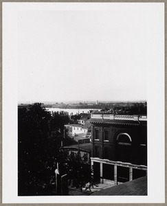 Aerial, southeasterly, towards Spy Pond from roof of Old Town Hall on Mass. Ave. opposite Pleasant Street