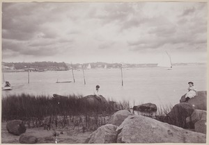 Photograph Album of the Newell Family of Newton, Massachusetts - Channing and Florence on Rocks in Onset Bay, Mass. -