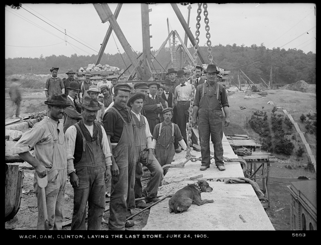 Wachusett Dam, laying the last stone, laid by John Mercer, laborer, Clinton, Mass., Jun. 24, 1905