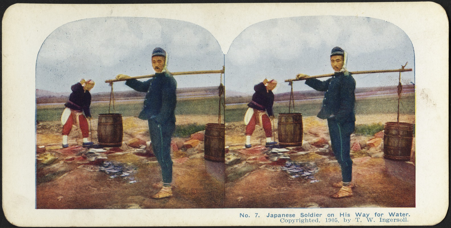 A Japanese soldier on his way to the well for water