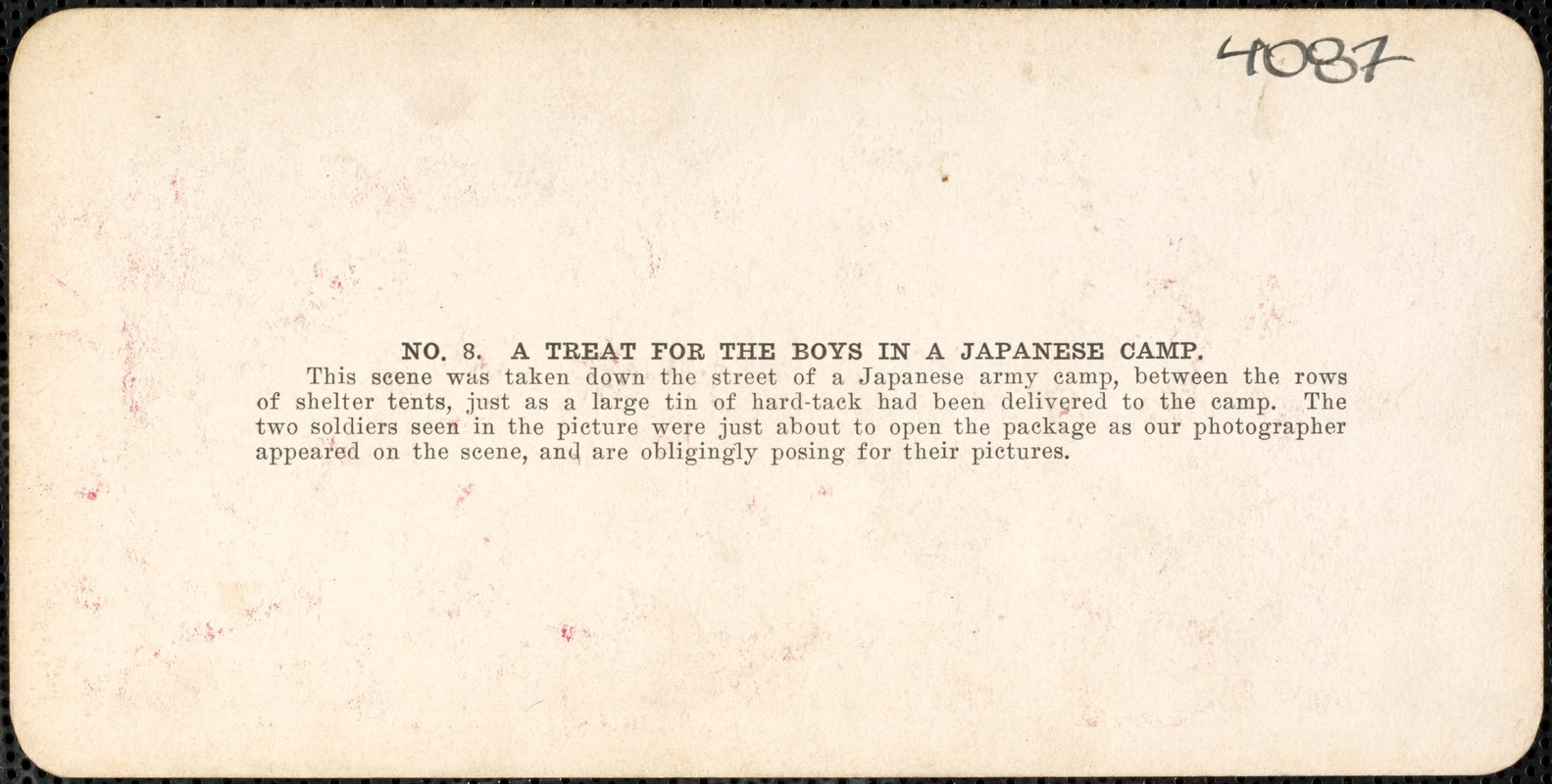 A treat for the boys in the Japanese camp