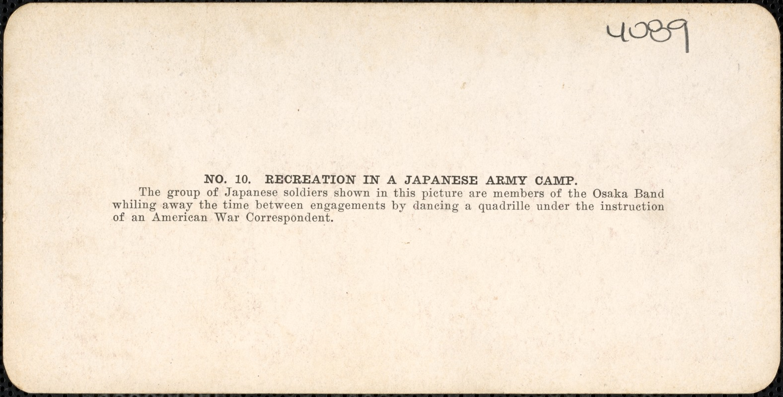 Recreation in a Japanese army camp