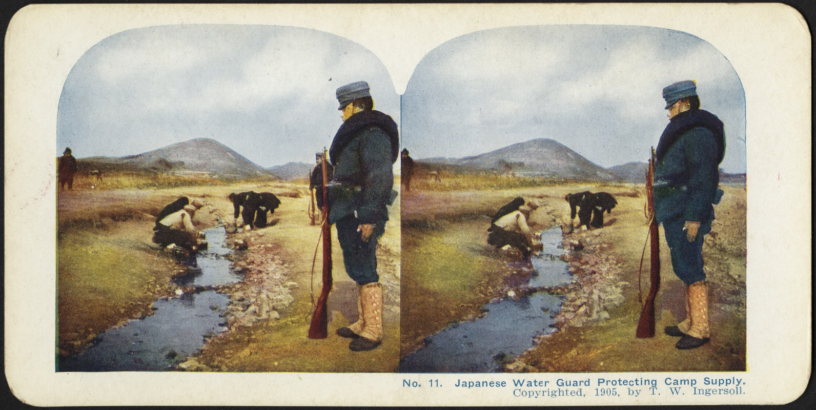 Japanese water guard protecting the camp's supply from contamination