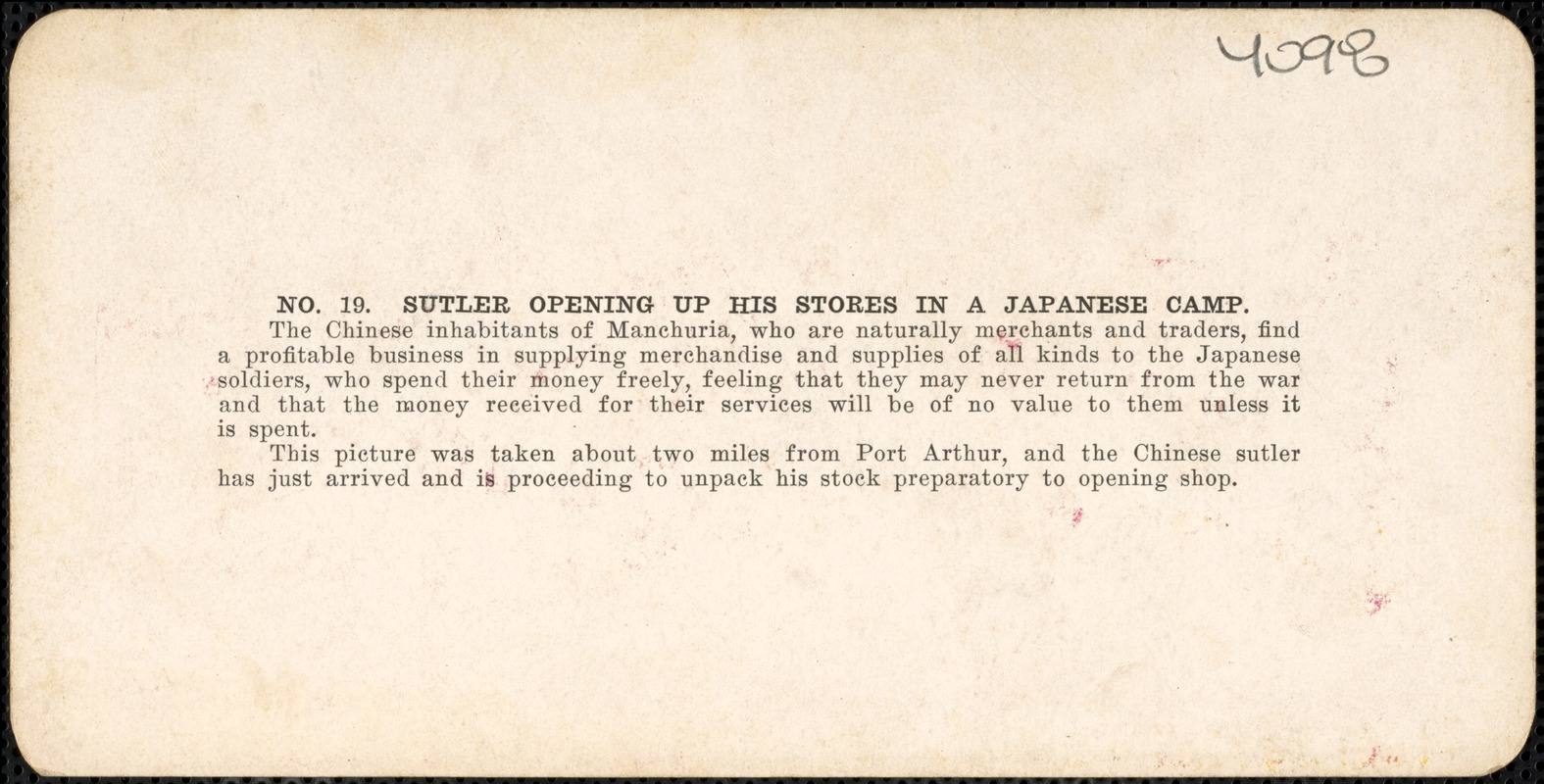 Sutler opening up his stores in a Japanese camp