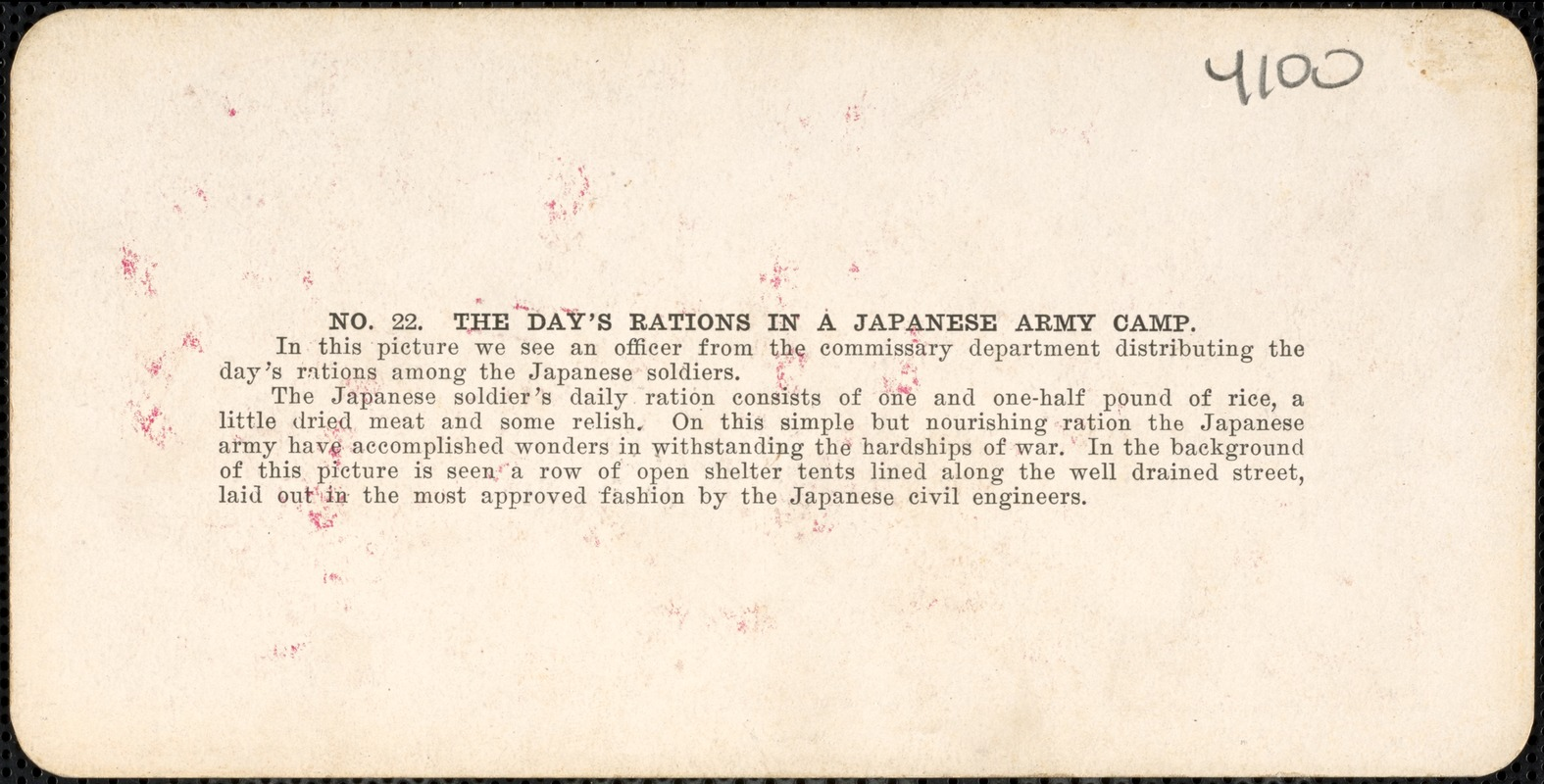 The day's rations in a Japanese army camp