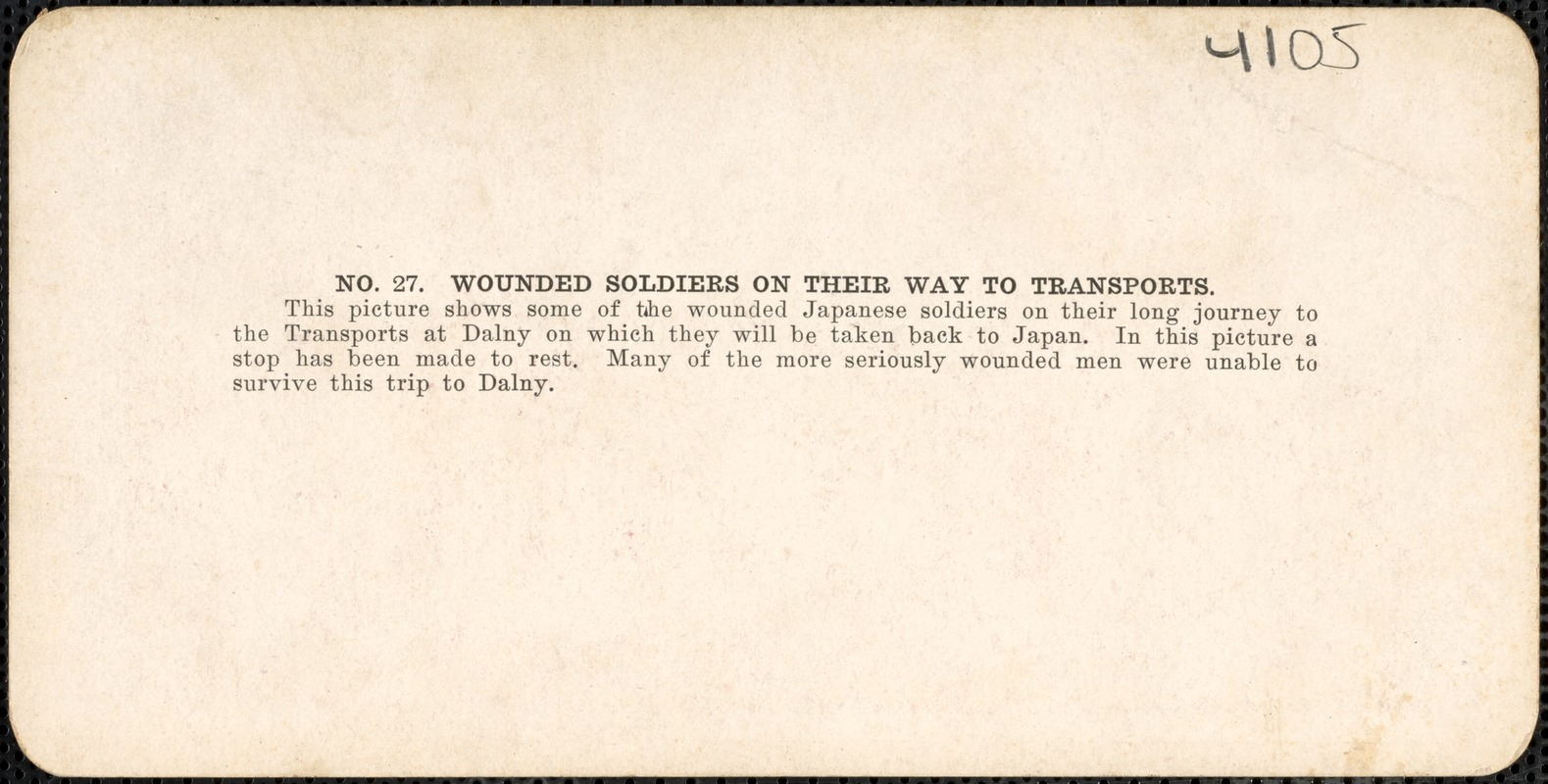Wounded soldiers on their way to transports