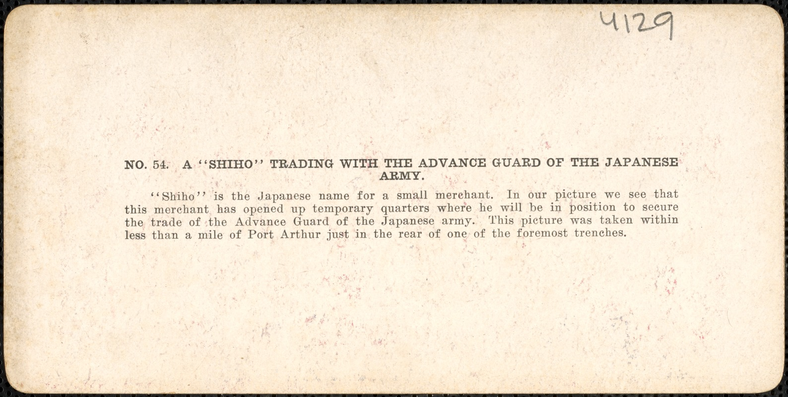 "A ""shiho"" trading with the advance guard of the Japanese army"