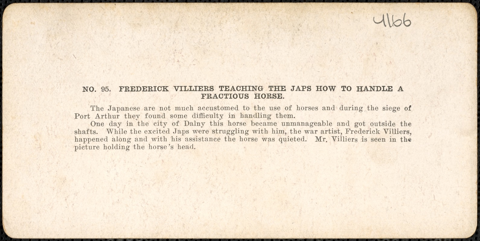 Frederick Villiers teaching the Japs how to handle a fractious horse