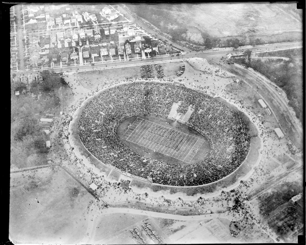 Aeroplane view of Yale Bowl when Yale played Army